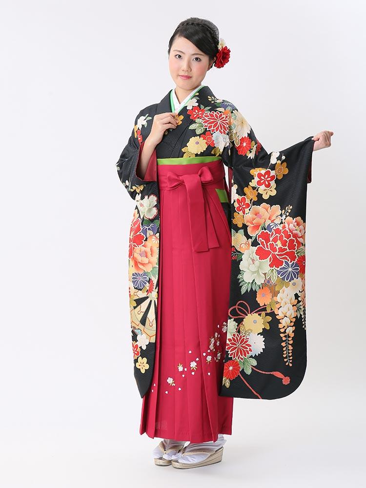 【高級卒業式袴レンタル】ws-11 黒地 牡丹、藤、花々 サイズ 牡丹・藤・花々