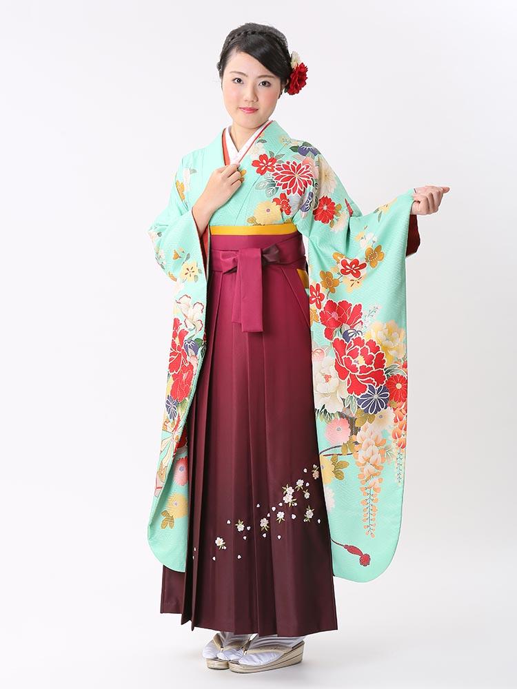 【高級卒業式袴レンタル】ws-13 水瓶色 牡丹、藤、花々 サイズ 牡丹・藤・花々