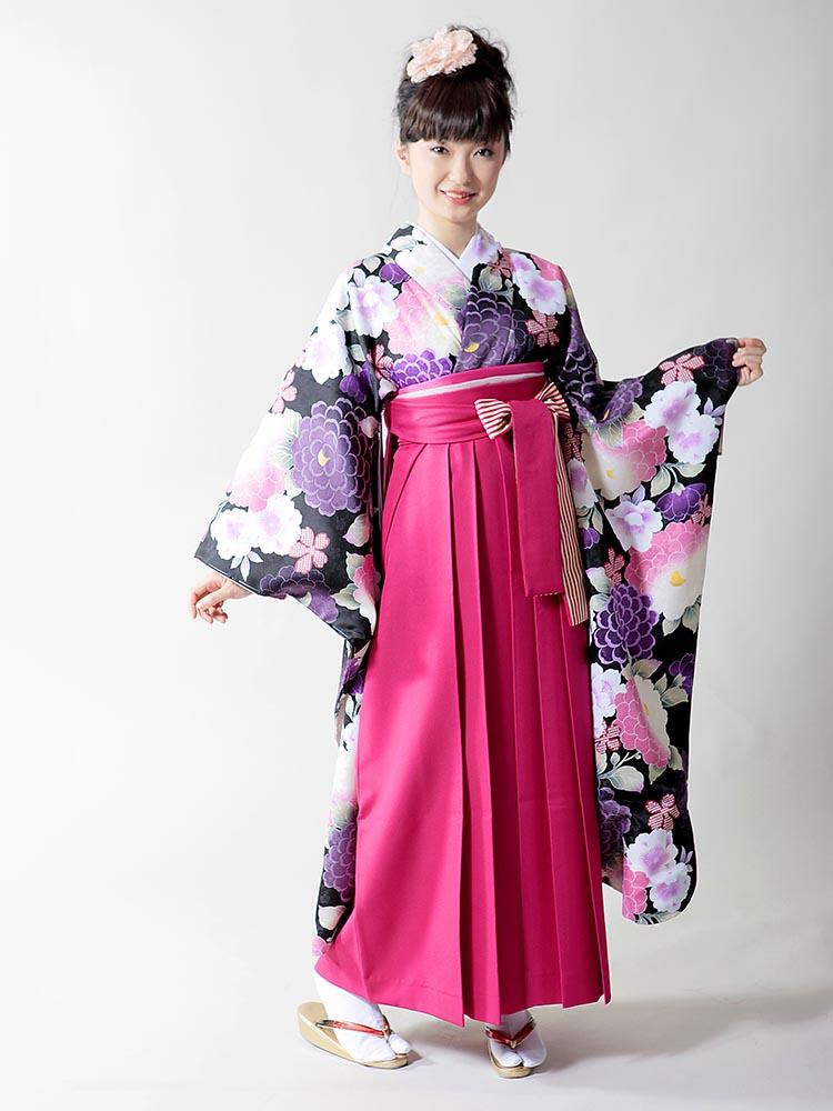 【高級卒業式袴レンタル】ws-9 黒地に菊柄 サイズ 菊
