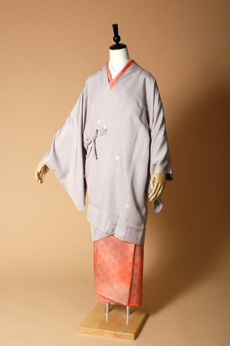 【高級着物コートレンタル】coat23-3 藤グレー ほたるぼかし MLサイズ ほたるぼかし