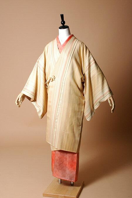 【高級着物コートレンタル】coat23-5 ストライプ 黄色 MLサイズ 縞