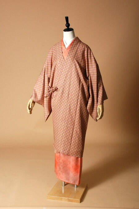 【高級着物コートレンタル】coat23-6 市松柄 オレンジ MLサイズ 市松