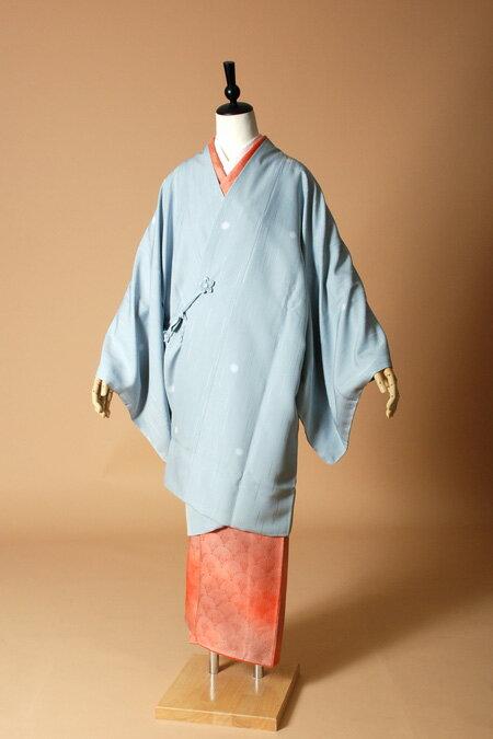 【高級着物コートレンタル】coat23-7 水色 ほたるぼかし LLサイズ ほたるぼかし