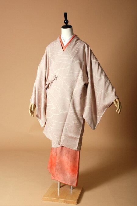 【高級着物コートレンタル】coat23-8 灰桜色 道中着スタイル LLサイズ