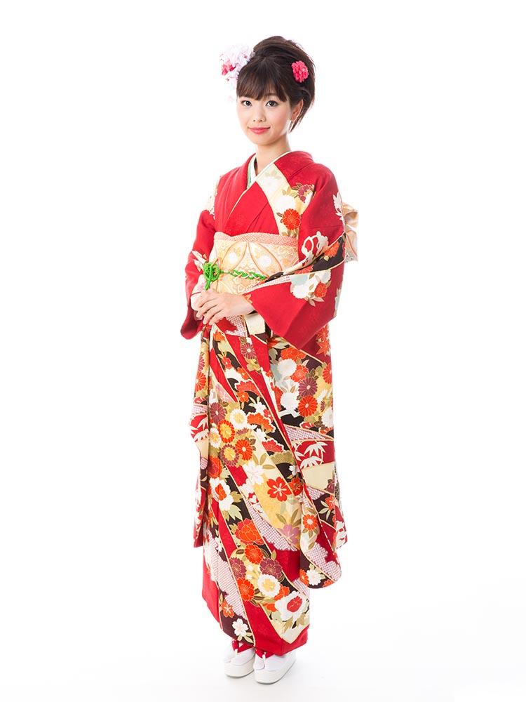 【小さめ高級振袖レンタル】A-11 熨斗・花 MSサイズ 赤 (成人式価格158000円)