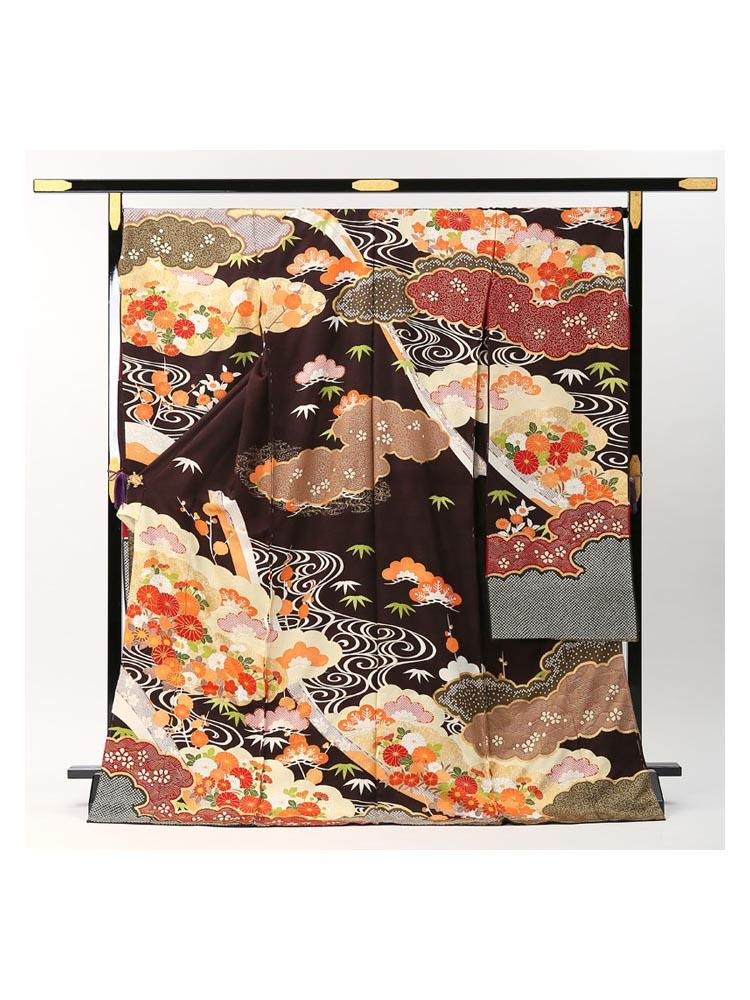【高級振袖レンタル・青柳謹製】松竹梅柄 MLサイズ こげ茶・品番A-12