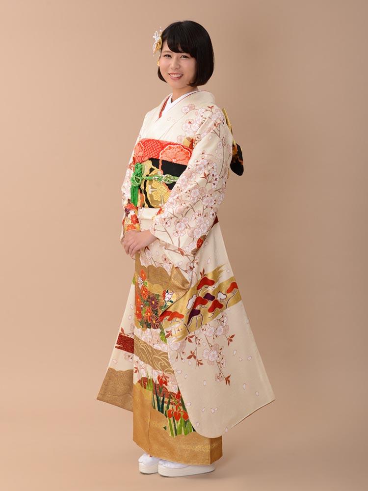 【高級振袖レンタル】A-15 桜 LLサイズ 白 (成人式価格158000円)
