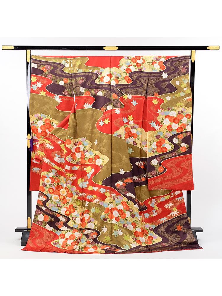 【高級振袖レンタル・十日町友禅「青柳」】流水、花柄・Mサイズ 赤色・品番Aー17