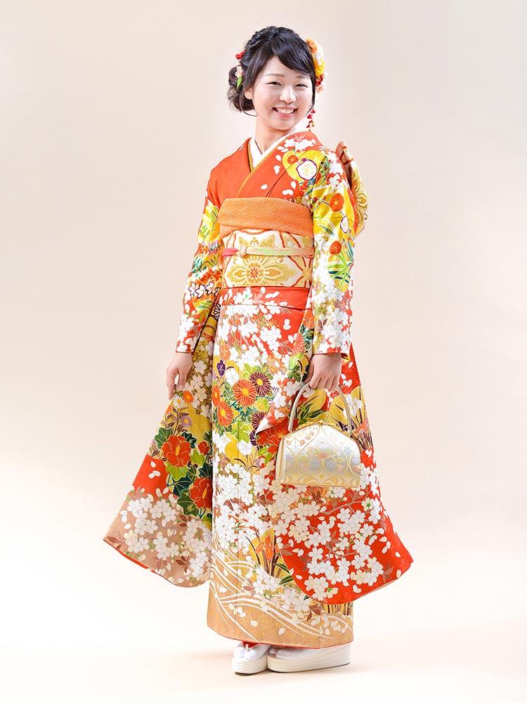 【高級振袖レンタル】A-20 花 Mサイズ 朱 (成人式価格158000円)