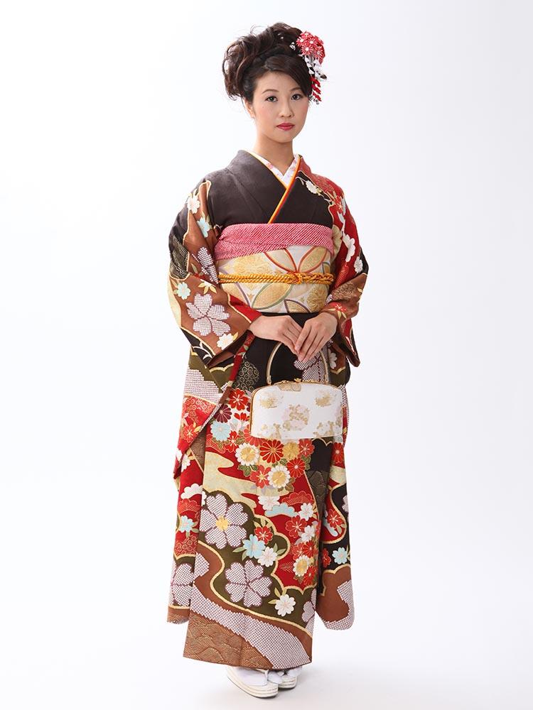 【高級振袖レンタル】A-3 花 Lサイズ こげ茶 (成人式価格148000円)