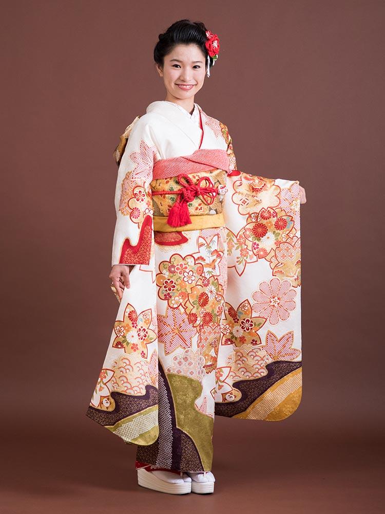 【小さいサイズの高級振袖レンタル】A-5 桜 MSサイズ 白・メーカー「青柳」 (成人式価格148000円)