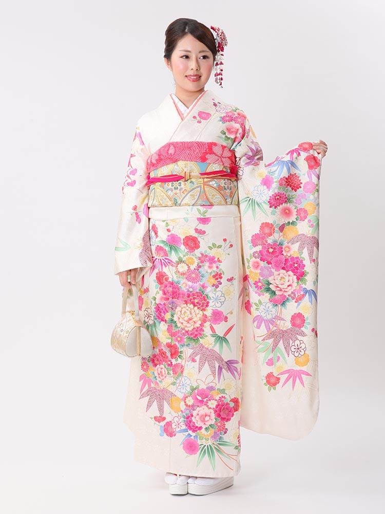 【高級振袖レンタル】f-100 花 LLサイズ 白