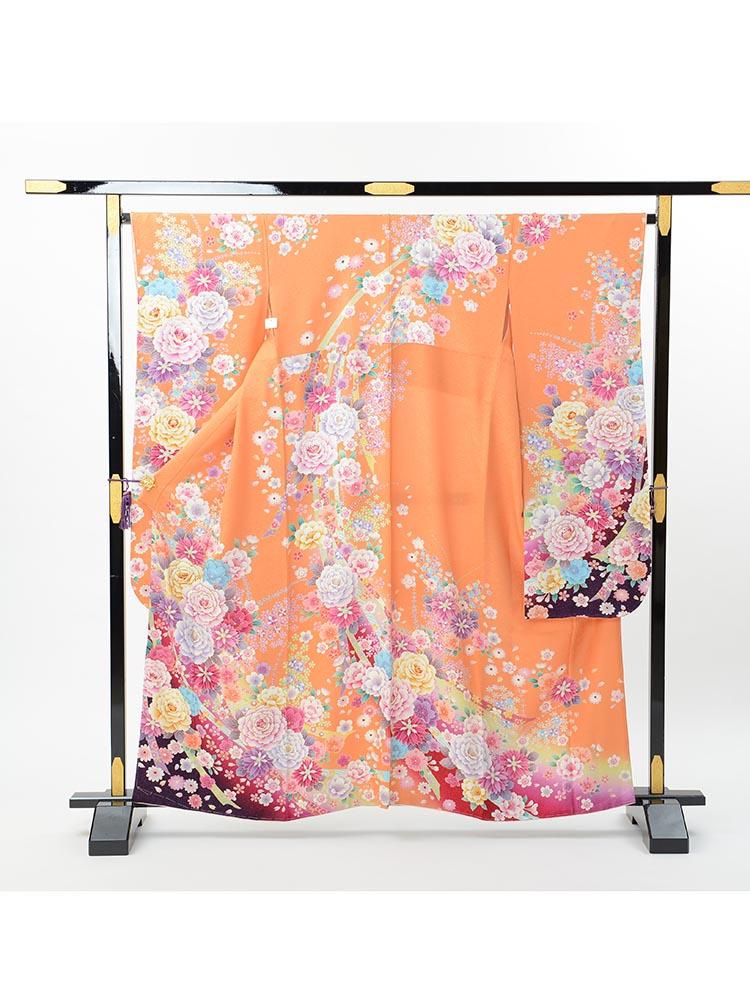 【小さい方用の高級振袖レンタル】f-103 花 MSサイズ オレンジ 花々 (成人式価格80000円)