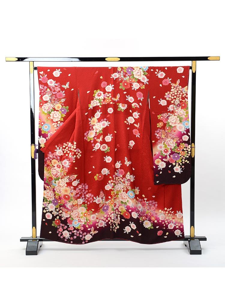 【小さい方向け高級振袖レンタル】f-104 花 Sサイズ 赤・黒・花々 (成人式価格80000円)