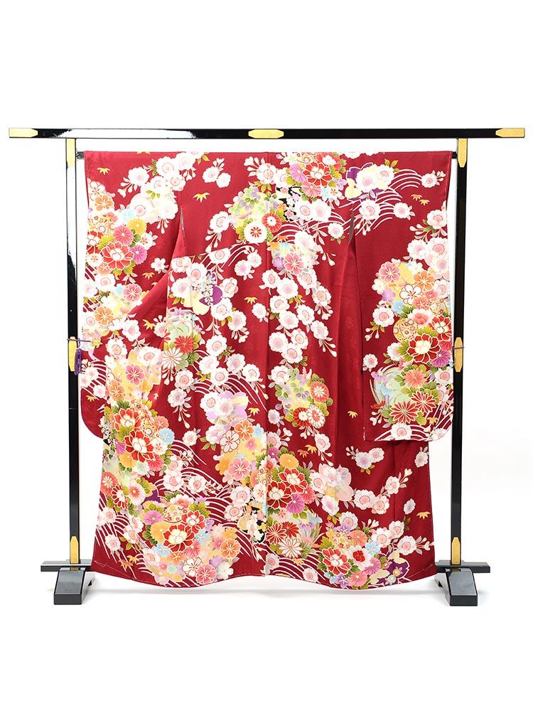 【小柄な方向け高級振袖レンタル】f-105 花・波 MSサイズ 濃いめの赤・花々 (成人式価格80000円)