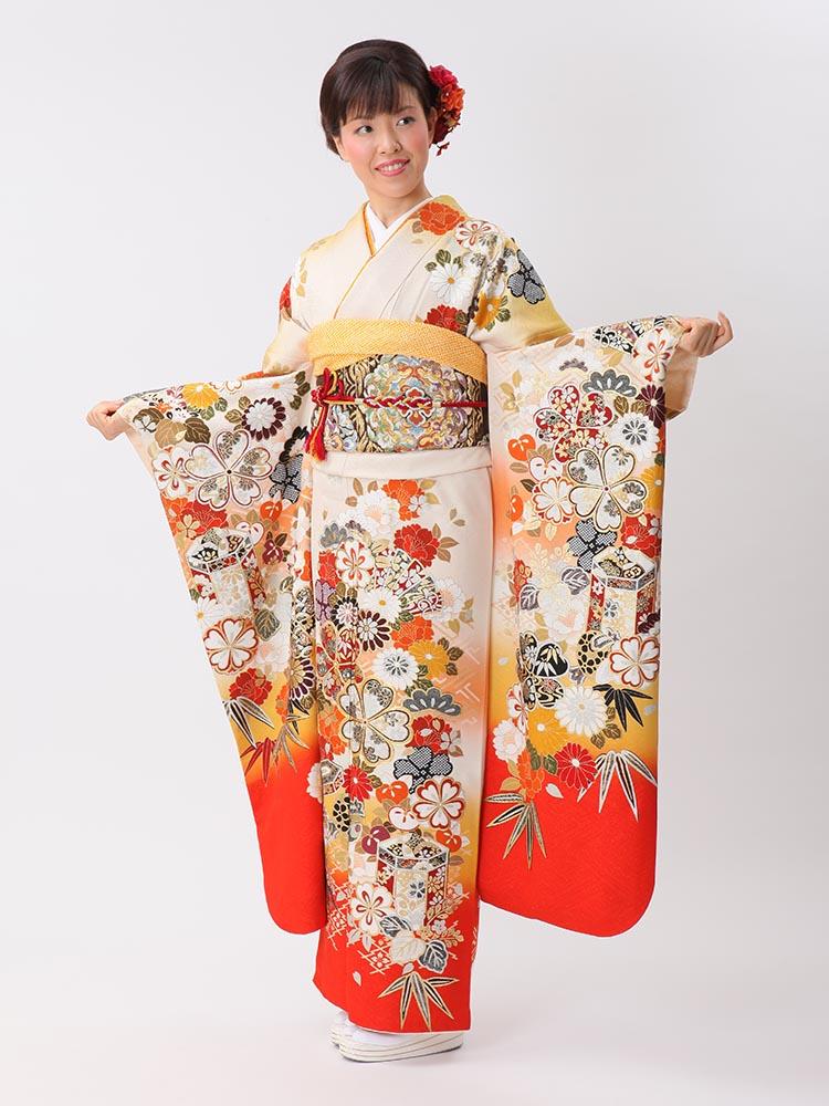 【高級振袖レンタル】f-107 花・扇・貝桶 LLサイズ 白・朱 (成人式価格80000円)