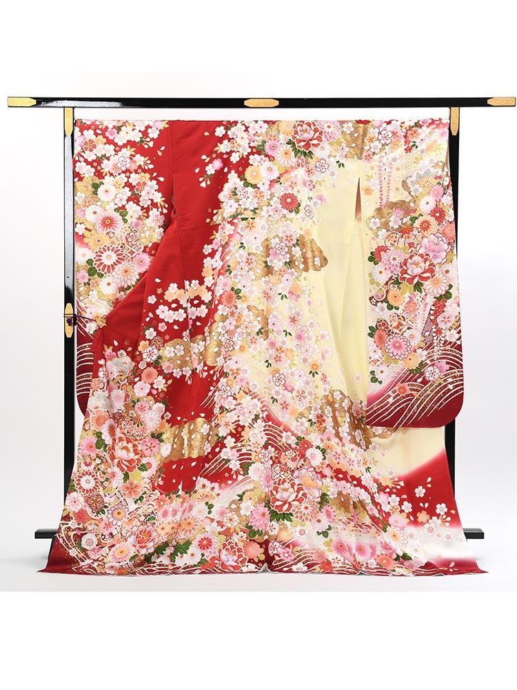 【ワイドサイズの高級振袖レンタル】f-109 花・波 LOOサイズ 赤 (成人式価格108000円)