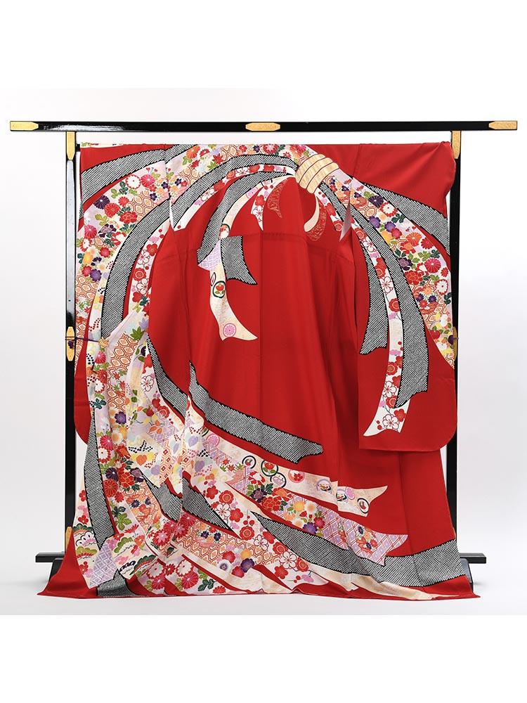 【ふくよかめの高級振袖レンタル】f-112 熨斗 LOOサイズ 赤 (成人式価格108000円)