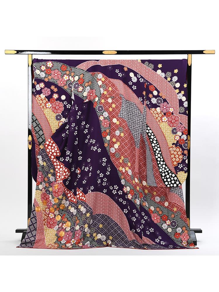 【幅広めの高級振袖レンタル】f-113 花 LOサイズ 紫 (成人式価格108000円)