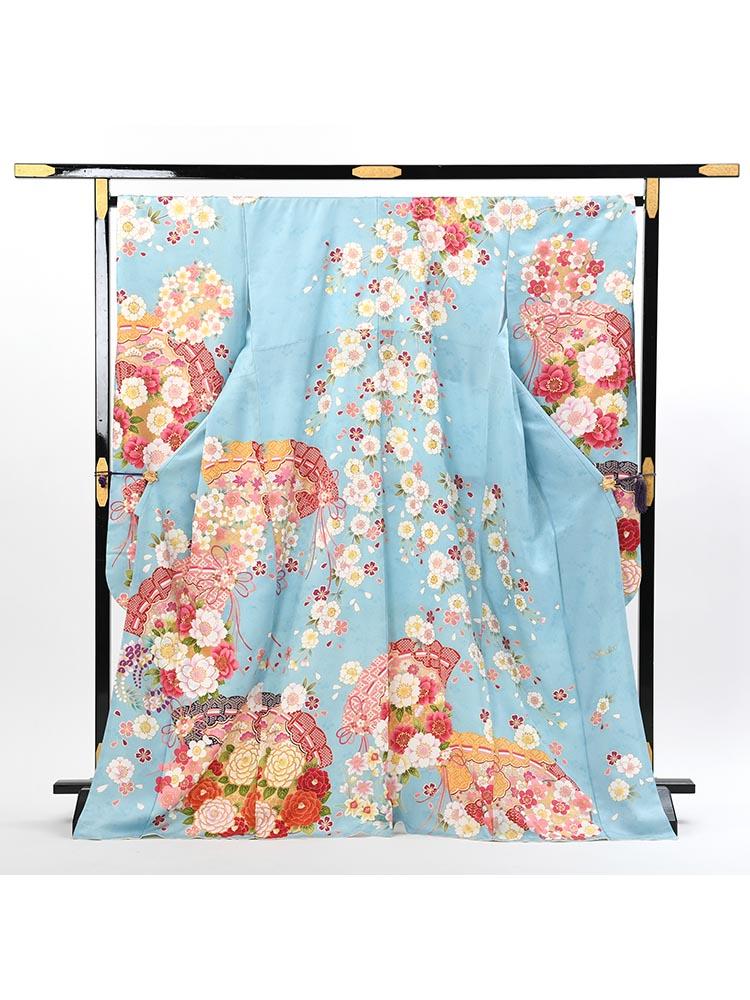 【ゆったりめの高級振袖レンタル】f-114 檜扇・桜 LOサイズ 水色 (成人式価格108000円)