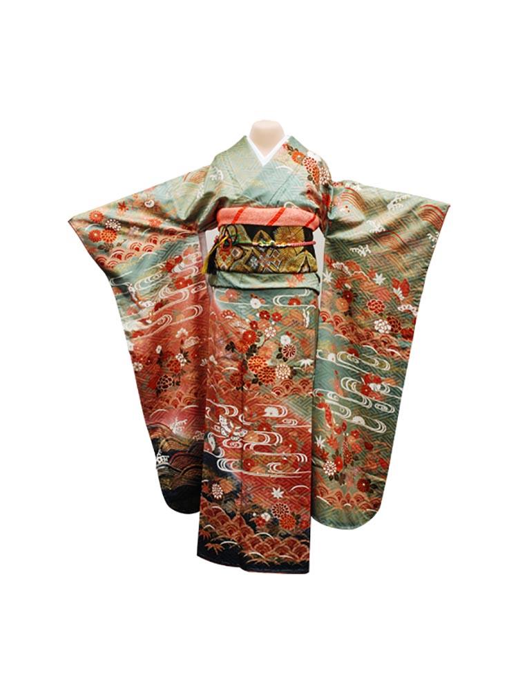 【高級振袖レンタル】f-15 花・観世水 Mサイズ 翡翠と朱