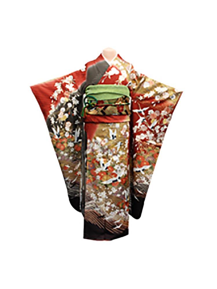 【高級振袖レンタル】f-17 鶴・波 Mサイズ 赤と茶 (成人式価格20000円)