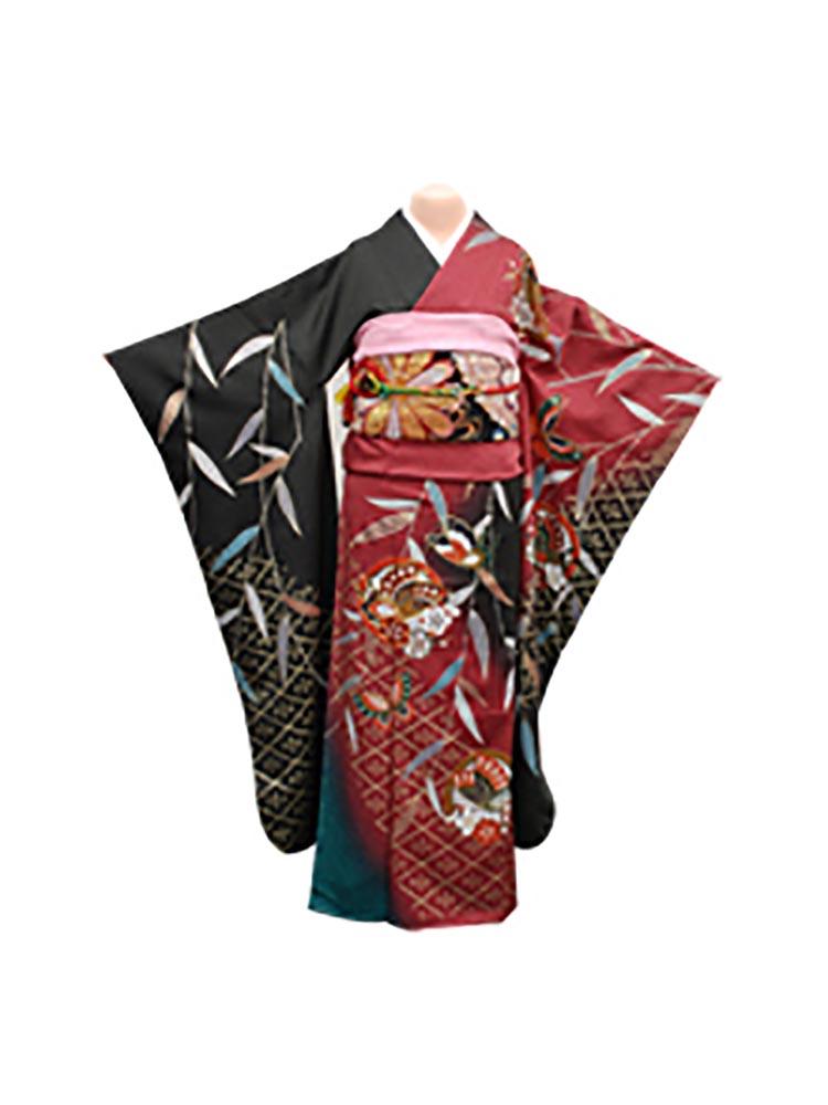【高級振袖レンタル】f-20 蝶・笹 Mサイズ 紅と黒 (成人式価格20000円)