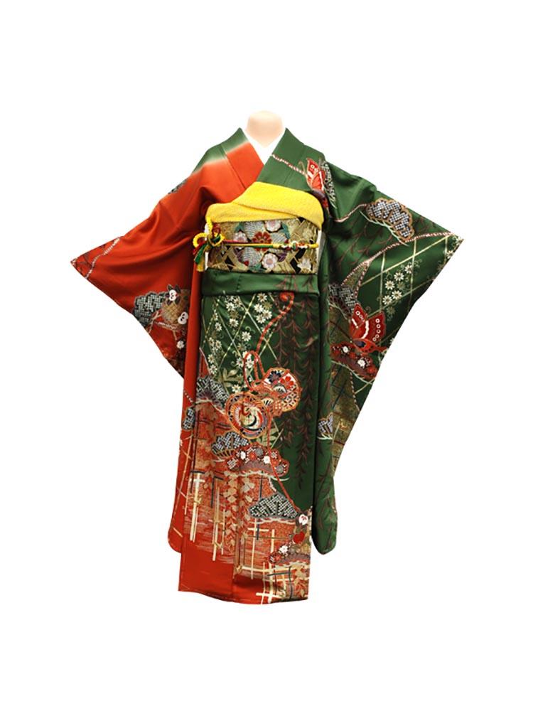 【高級振袖レンタル】f-24 鼓 Mサイズ 抹茶と朱 (成人式価格20000円)