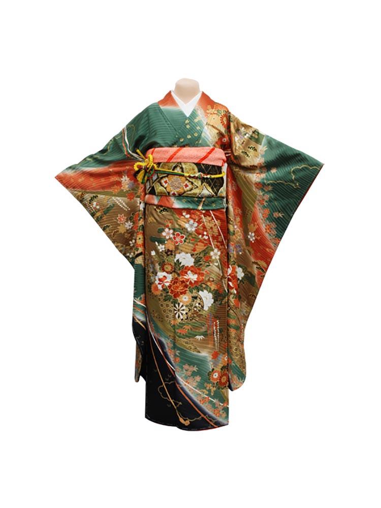 【高級振袖レンタル】f-26 花鼓 Mサイズ 緑 (成人式価格20000円)