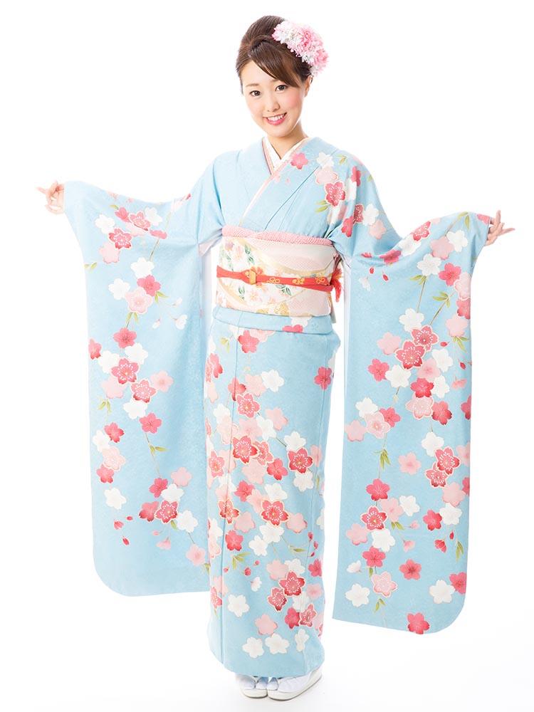 【高級振袖レンタル】f-56 桜 MLサイズ 水色