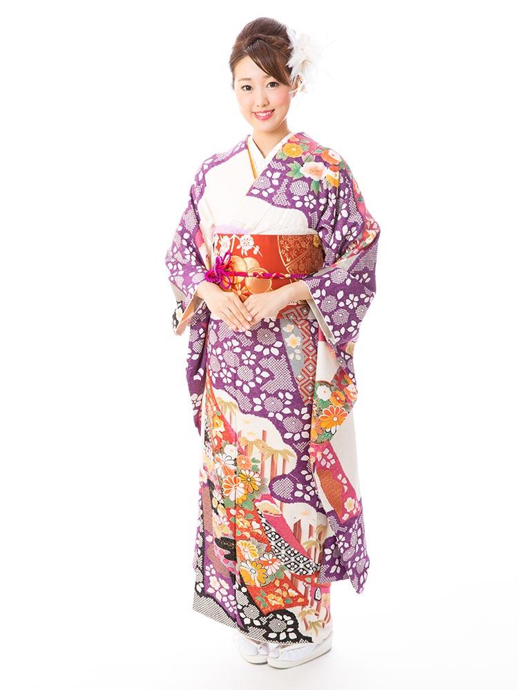 【高級振袖レンタル】f-57 熨斗 MLサイズ 紫