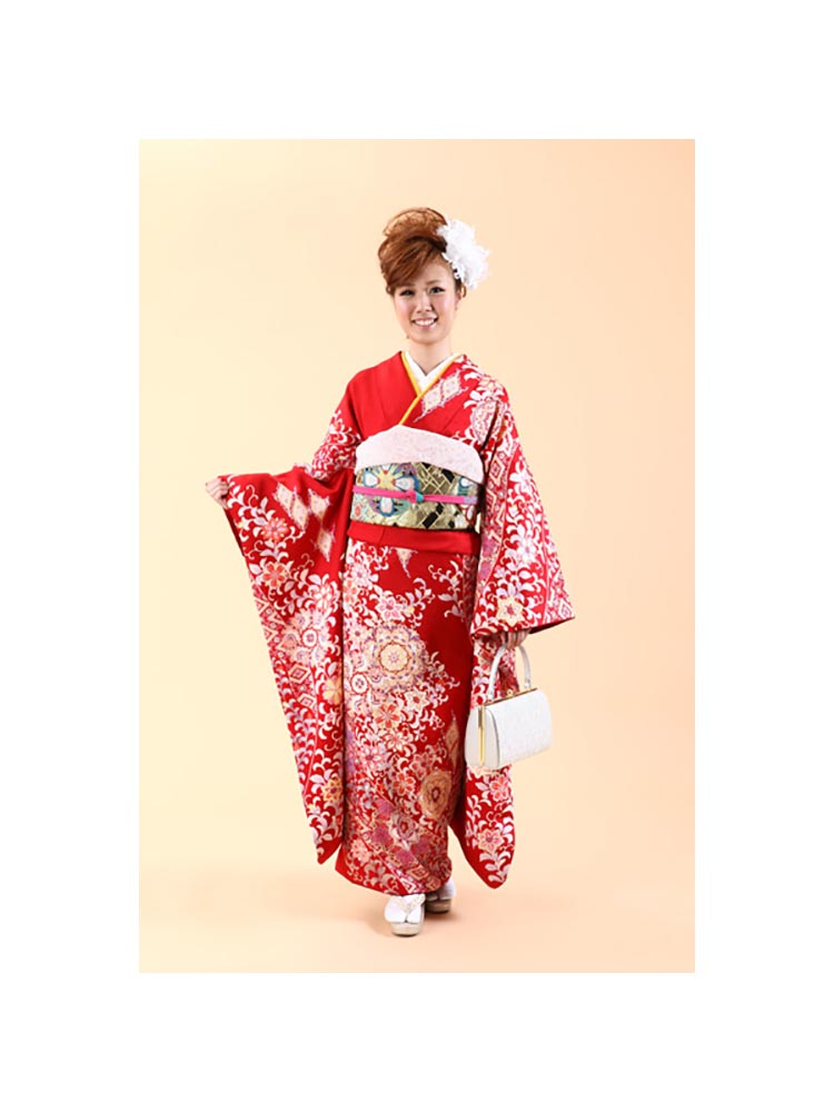 【小さめ高級振袖レンタル】f-58 洋花 MSサイズ 赤 (成人式価格50000円)