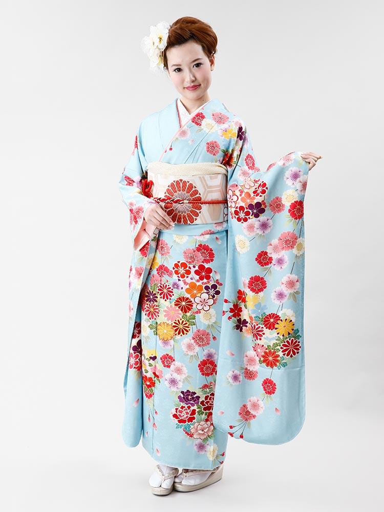 【高級振袖レンタル】f-62 花丸紋・桜 MLサイズ 水色 (成人式価格50000円)