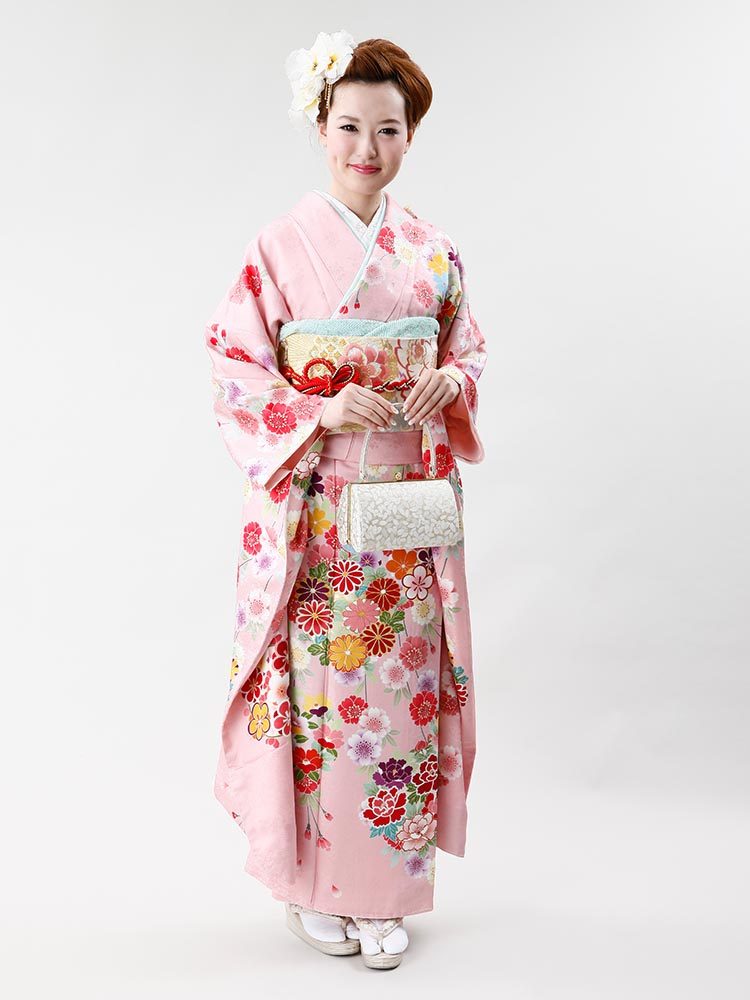 【高級振袖レンタル】f-63 花丸紋・桜 MLサイズ ピンク 桜