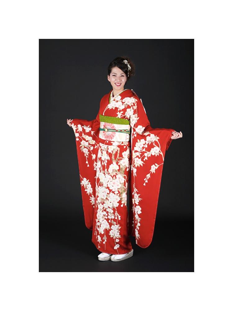 【高級振袖レンタル】f-65 桜 Lサイズ 朱赤 枝垂れ桜 (成人式価格50000円)