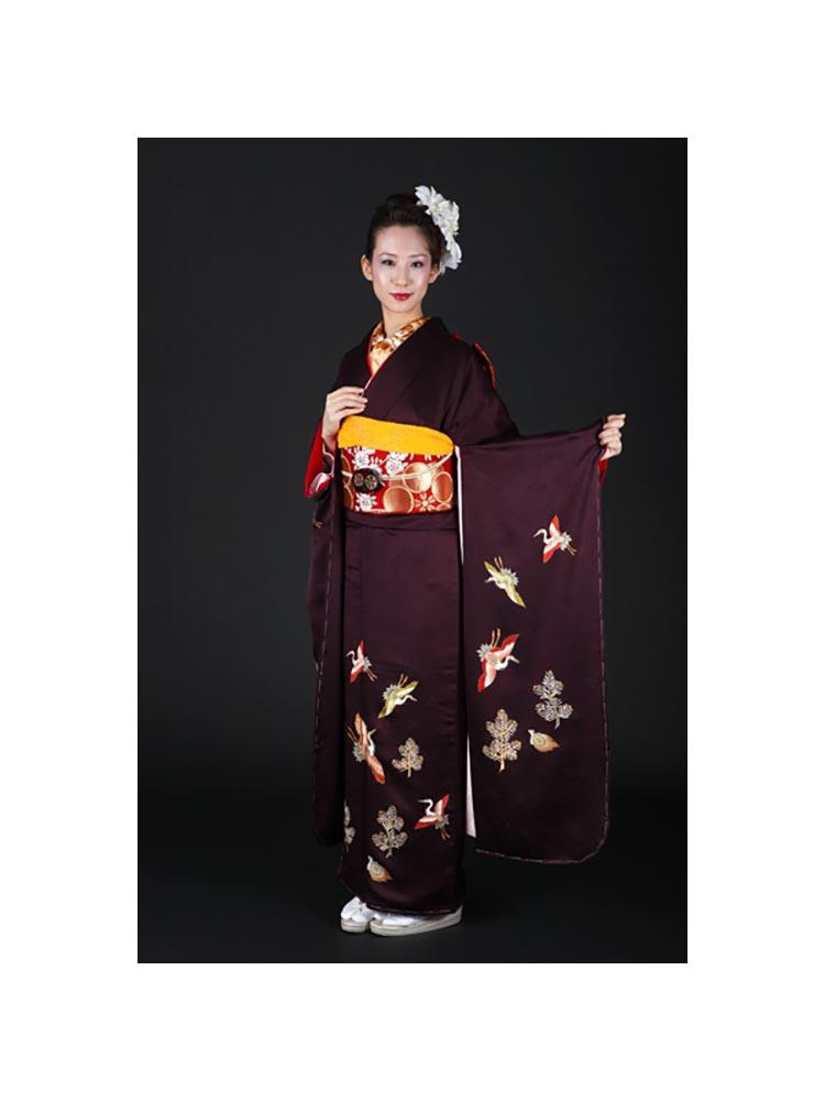 【高級振袖レンタル】f-67 鶴 Lサイズ こげ茶に鶴柄 (成人式価格50000円)