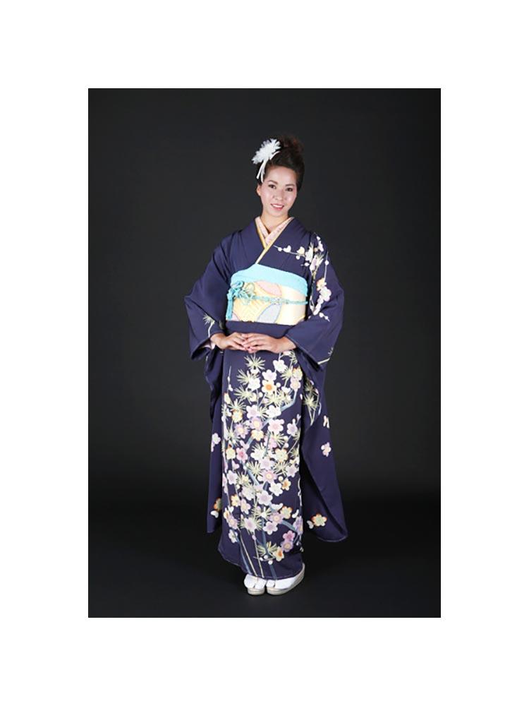 【高級振袖レンタル】f-68 花 Lサイズ 紺色 加賀友禅 (成人式価格50000円)
