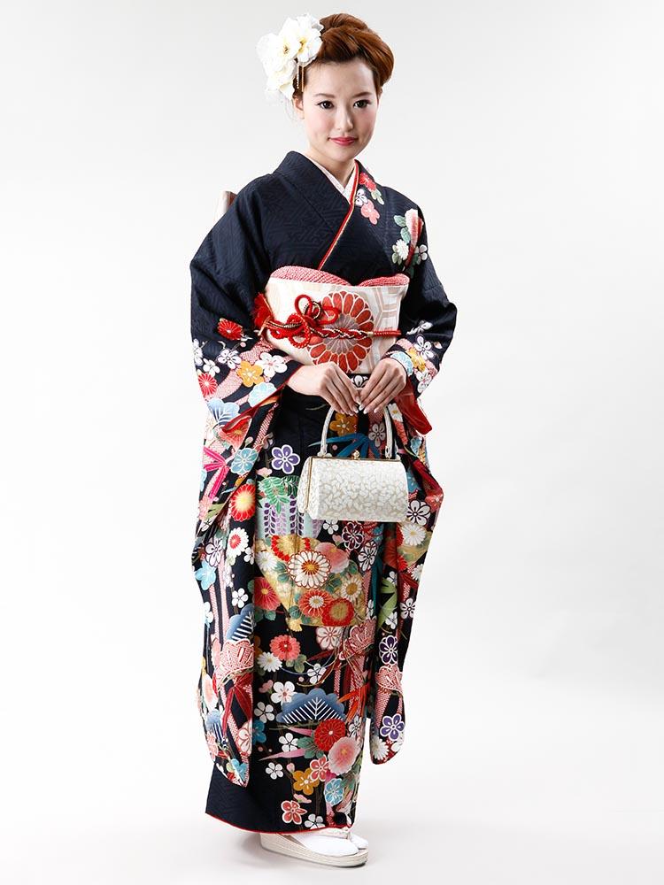 【高級振袖レンタル】f-70 松竹梅・扇 MLサイズ 墨黒