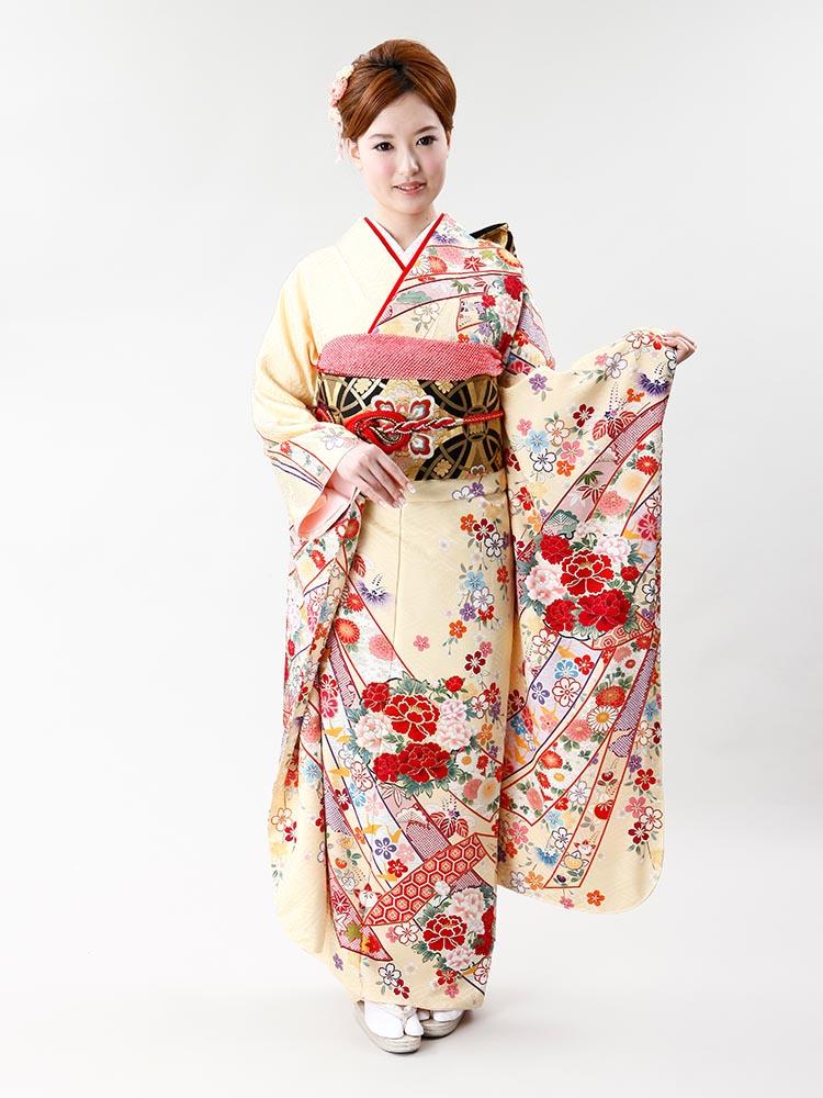 【高級振袖レンタル】f-71 熨斗・花 MLサイズ 黄クリーム
