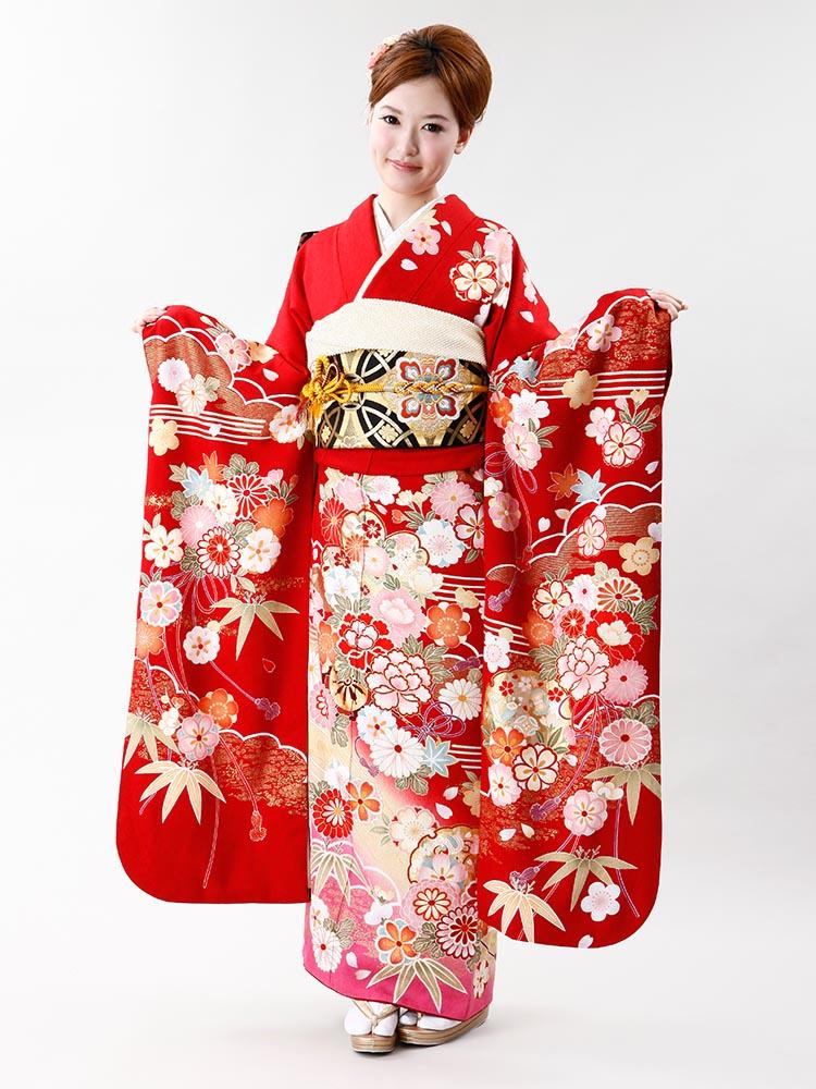 【高級振袖レンタル】f-72 花丸紋 MLサイズ 赤 (成人式価格50000円)