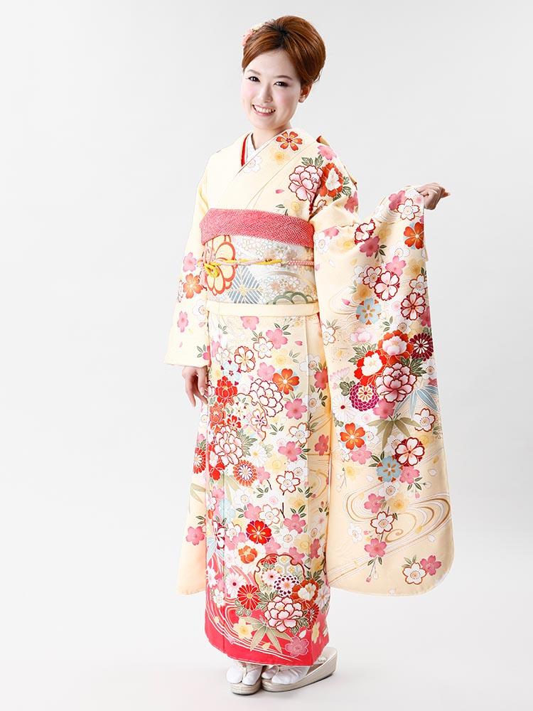 【高級振袖レンタル】f-73 花丸紋 MLサイズ 黄クリーム (成人式価格50000円)