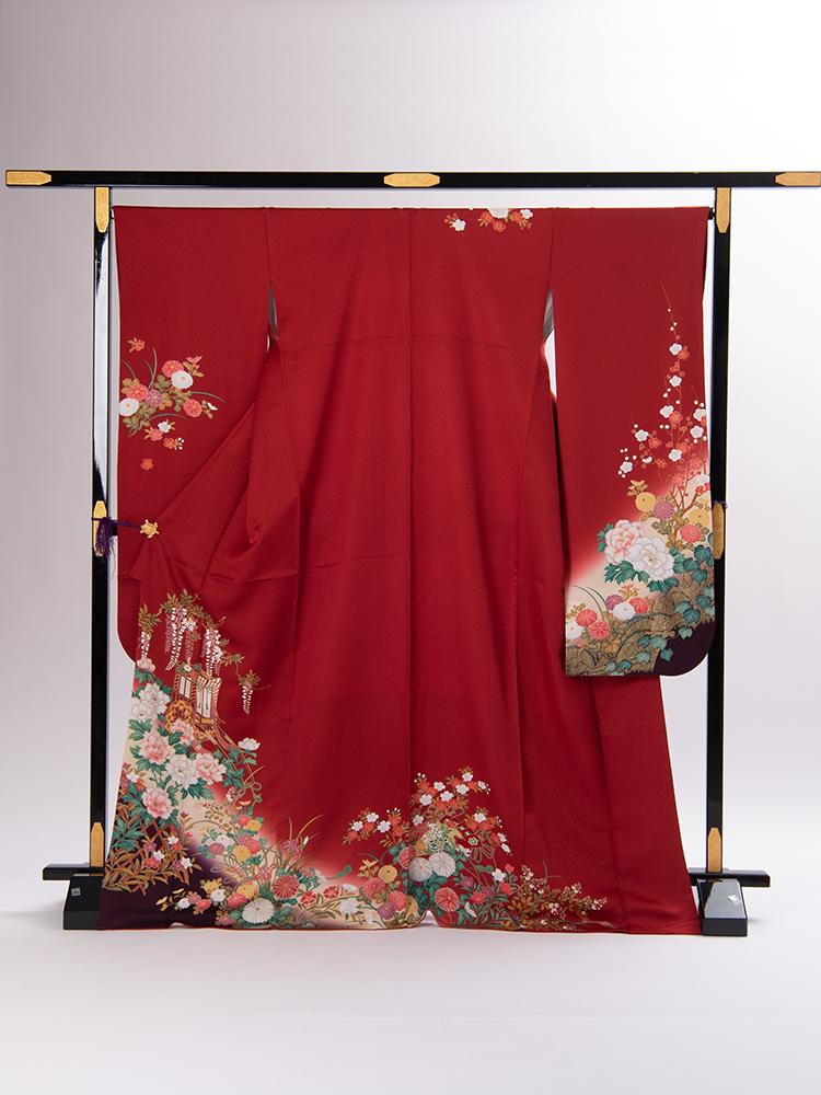 【高級振袖レンタル】f-74 花 MLサイズ 赤地に花