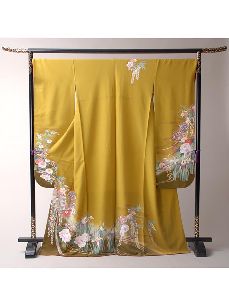 【高級振袖レンタル】f-75 花 MLサイズ 黄色 四季の花 (成人式価格18000円)