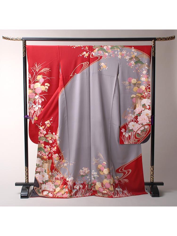 【高級振袖レンタル】f-77 花 MLサイズ 赤・グレー・花 (成人式価格18000円)