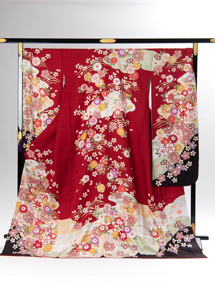 【ゆったりサイズの高級振袖レンタル】f-85 貝桶・花 LOサイズ 赤・フルセット (成人式価格80000円)