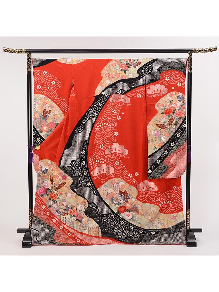 【高級振袖レンタル】f-88 蝶 MLサイズ 赤 (成人式価格20000円)