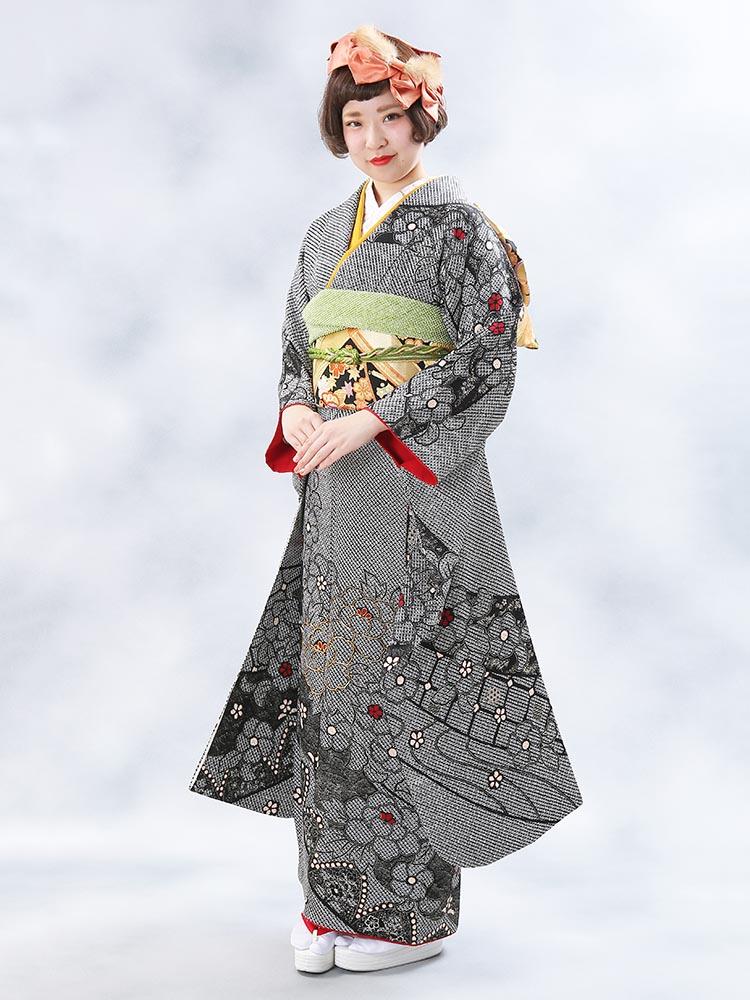 【高級振袖レンタル】f-92 花・絞り Mサイズ 黒・絞り (成人式価格20000円)
