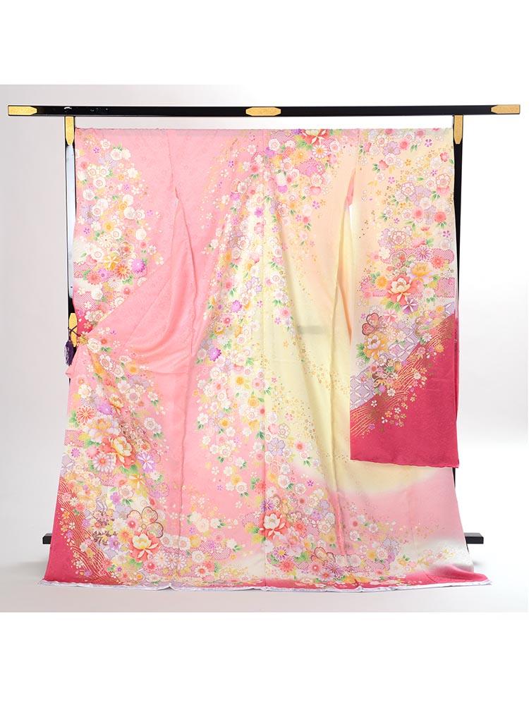 【ふくよかサイズ・高級振袖レンタル】f-97 花 LOOサイズ ピンク (成人式価格80000円)