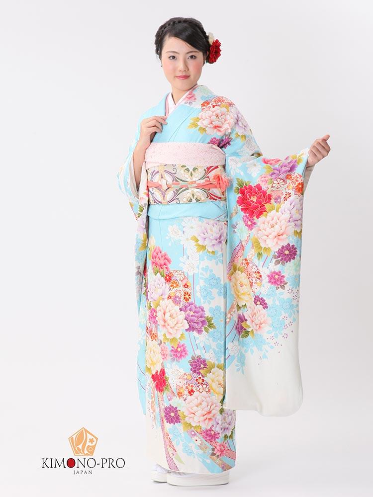 【高級振袖レンタル】f-99 花・毬 LLサイズ 水色