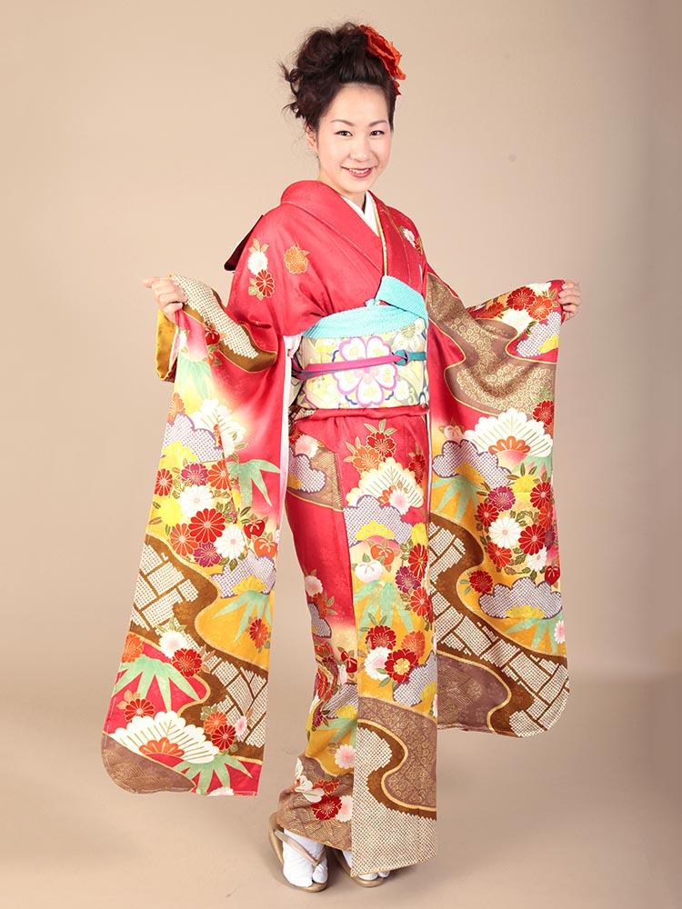 【高級振袖レンタル】K-10 松竹・花 MLサイズ 紅 (成人式価格98000円)